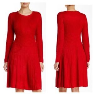 ELIZA J. Red Cable Knit Fit & Flare Sweater Dress